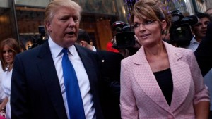NEW YORK, NY - MAY 31: Former U.S. Vice presidential candidate and Alaska Governor Sarah Palin (R), and Donald Trump walk towards a limo after leaving Trump Tower, at 56th Street and 5th Avenue, on May 31, 2011 in New York City. Palin and Trump met for a dinner meeting in the city. (Photo by Andrew Burton/Getty Images)